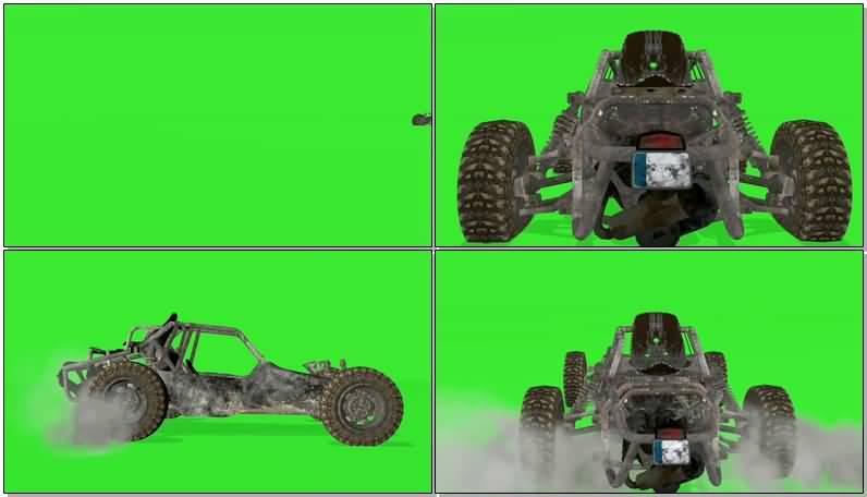 绿屏抠像行驶的沙漠赛车视频素材