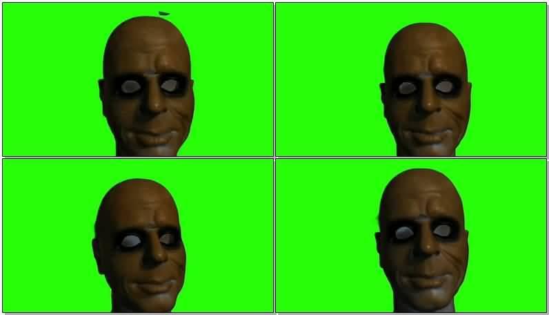绿屏抠像毛骨悚然的人头视频素材