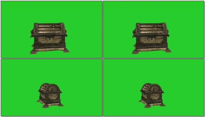 绿屏抠像打开的宝箱视频素材
