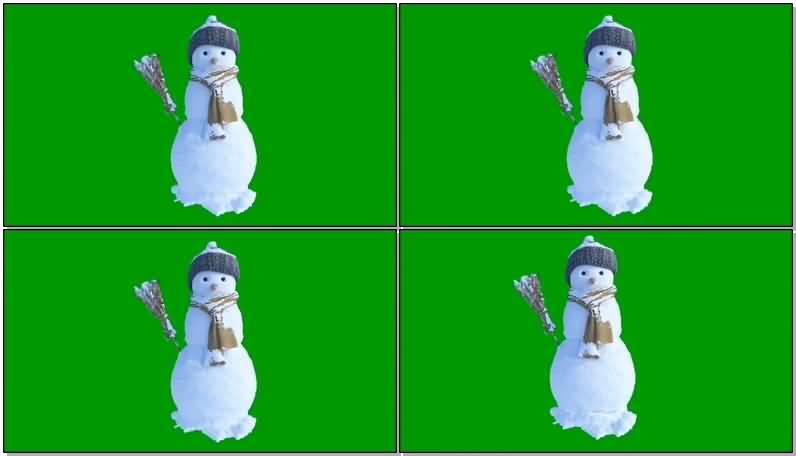 绿屏抠像会动的雪人视频素材