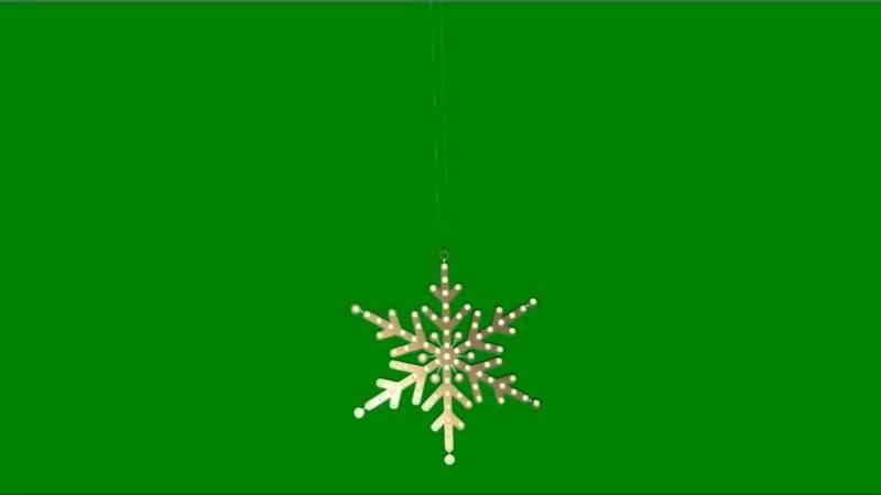绿屏抠像金色雪花挂饰视频素材