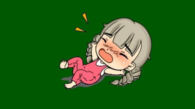 绿屏抠像哭闹撒娇的小女孩视频素材