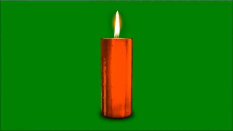 绿屏抠像燃烧的红色蜡烛视频素材