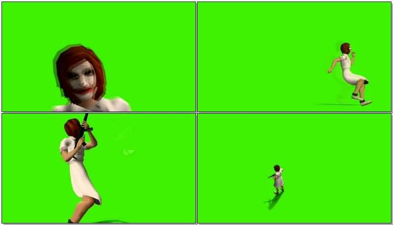 绿屏抠像开枪的女小丑视频素材