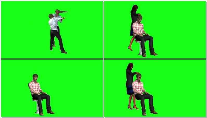 绿屏抠像亲热的男女情侣视频素材