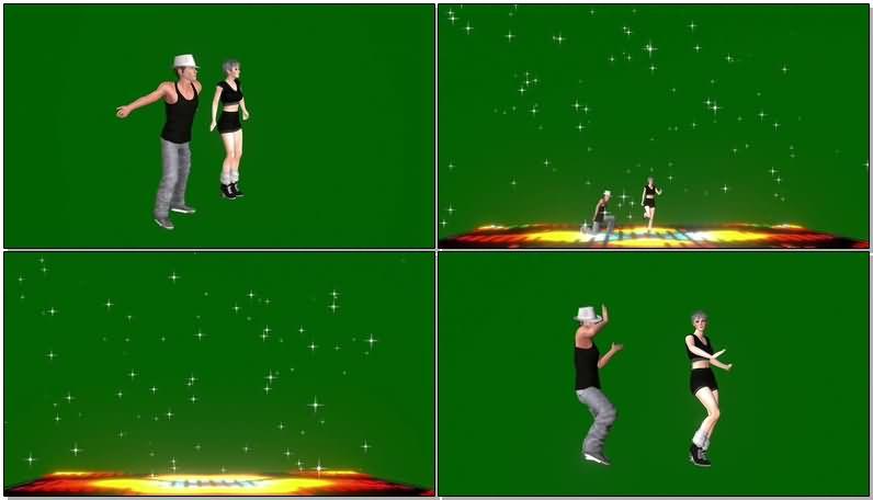 绿屏抠像跳街舞的男女舞者视频素材