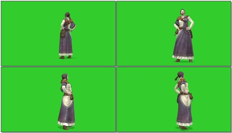 绿屏抠像农村主妇视频素材