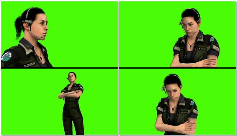 绿屏抠像说对讲机的女警视频素材