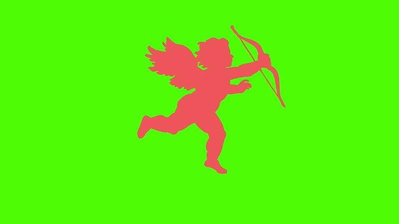 绿屏抠像丘比特剪影视频素材
