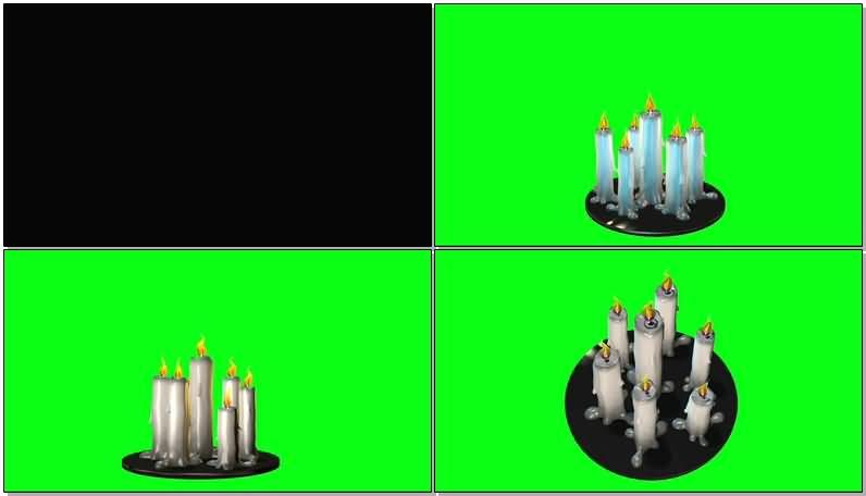 绿屏抠像白色蜡烛视频素材