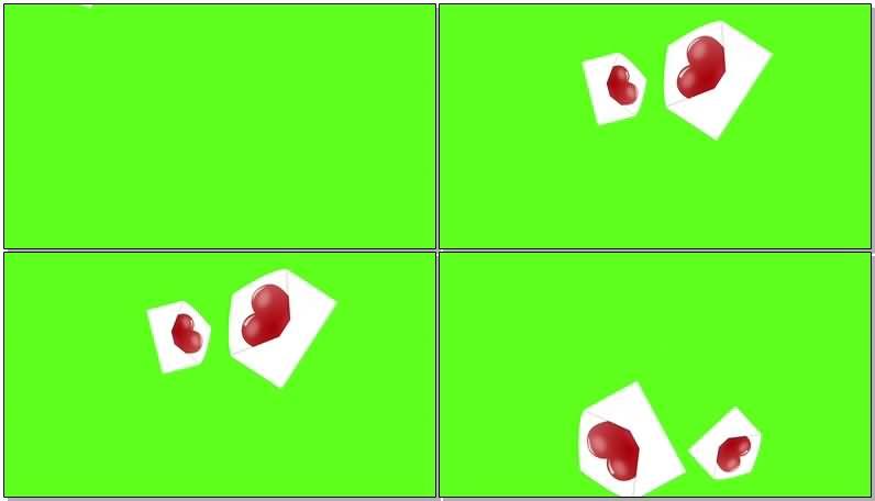 绿屏抠像爱心信封视频素材