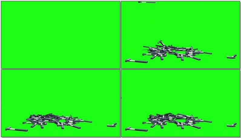 绿屏抠像掉落的榔头视频素材