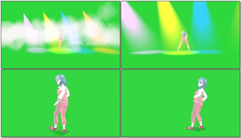 绿屏抠像跳舞的女孩视频素材