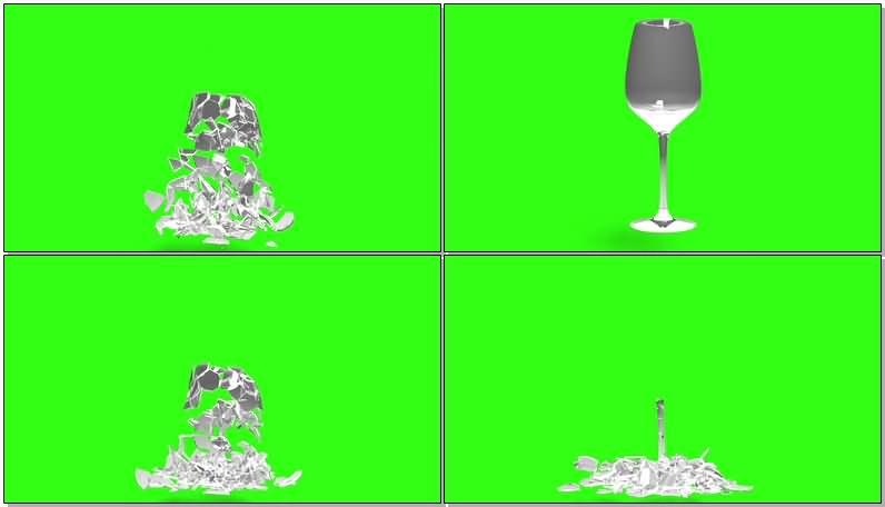 绿屏抠像破碎的酒杯视频素材
