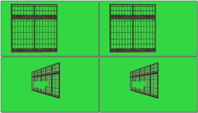 绿屏抠像移动的铁门视频素材