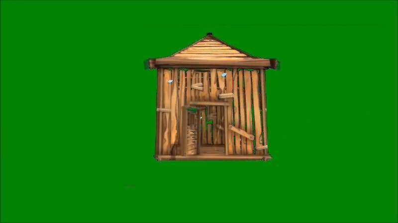 绿屏抠像小木屋视频素材
