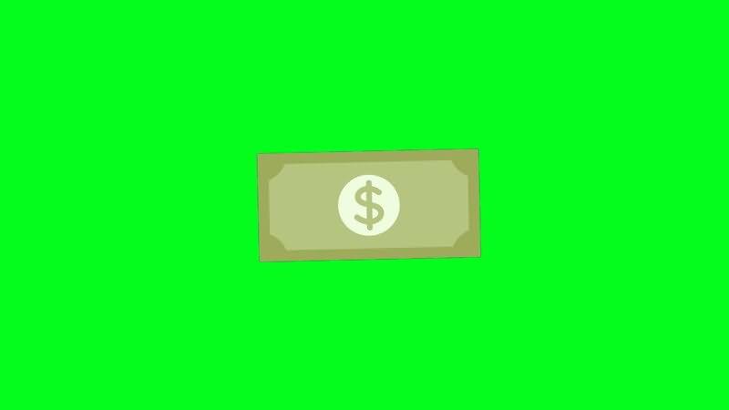 绿屏抠像卡通美元钞票视频素材
