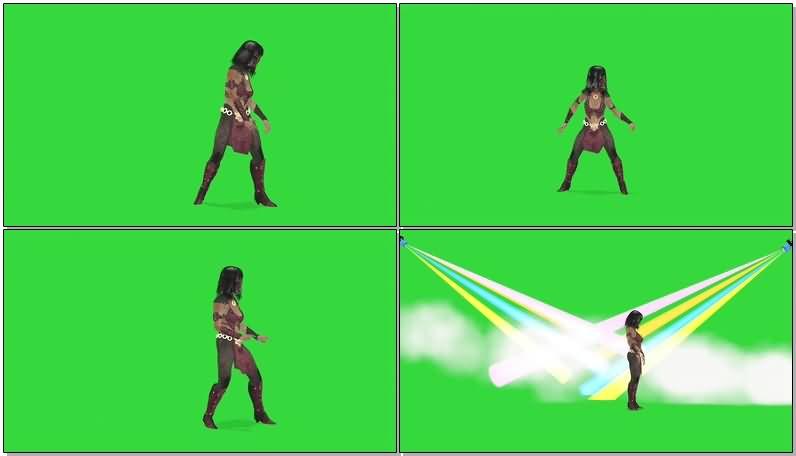 绿屏抠像蒙面女盗贼视频素材