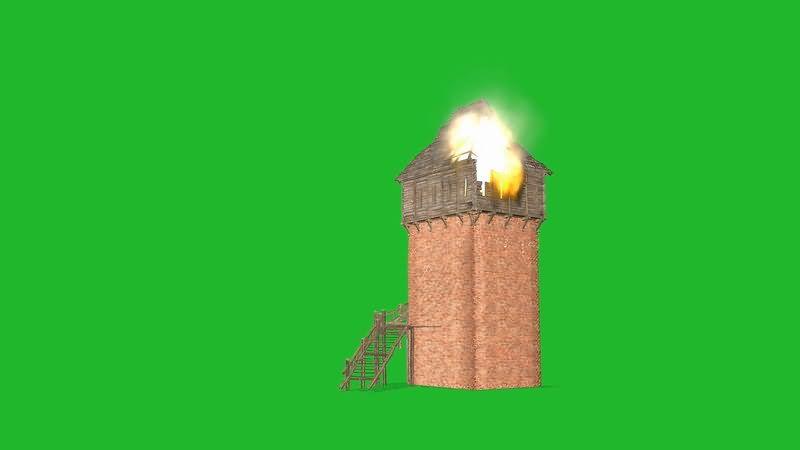 绿屏抠像着火的塔楼视频素材