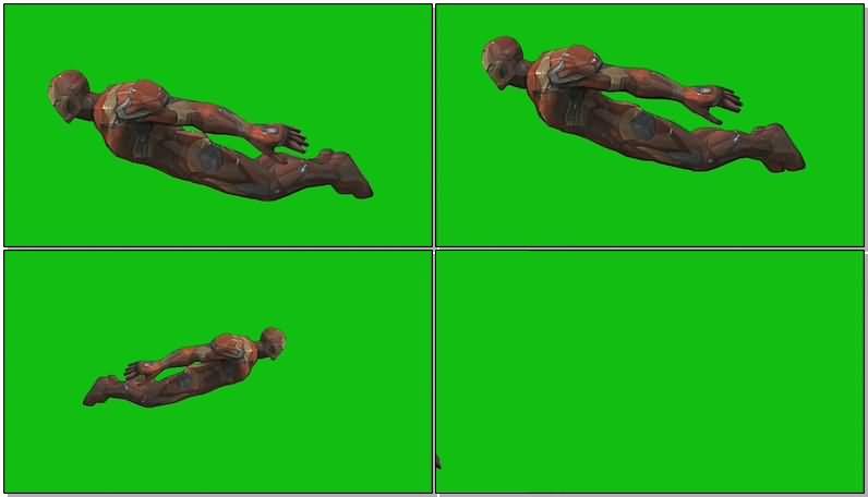 绿屏抠像飞行的钢铁侠视频素材