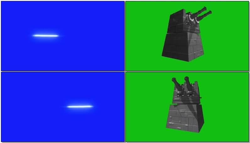 绿屏抠像射击的炮塔视频素材
