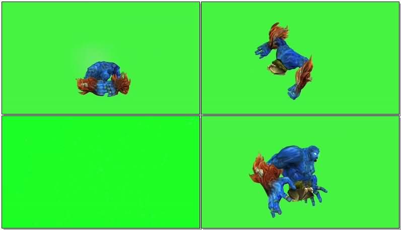 绿屏抠像蓝色飘浮恶魔视频素材