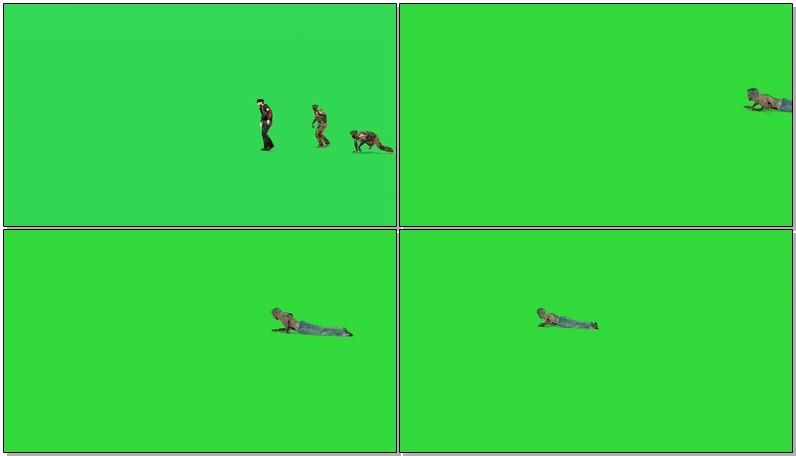 绿屏抠像僵尸部队视频素材