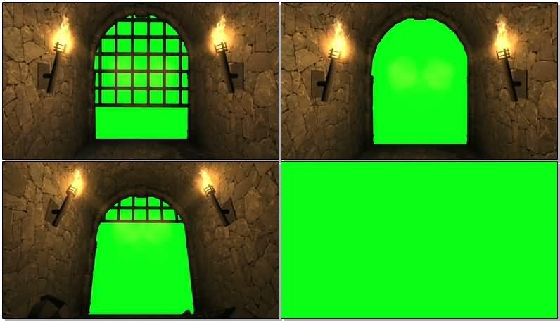 绿屏抠像地洞铁门视频素材