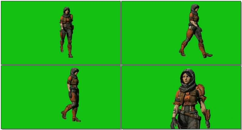 绿屏抠像行走的女战士视频素材