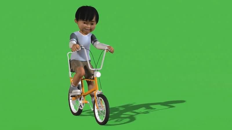 绿屏抠像骑车的男孩视频素材
