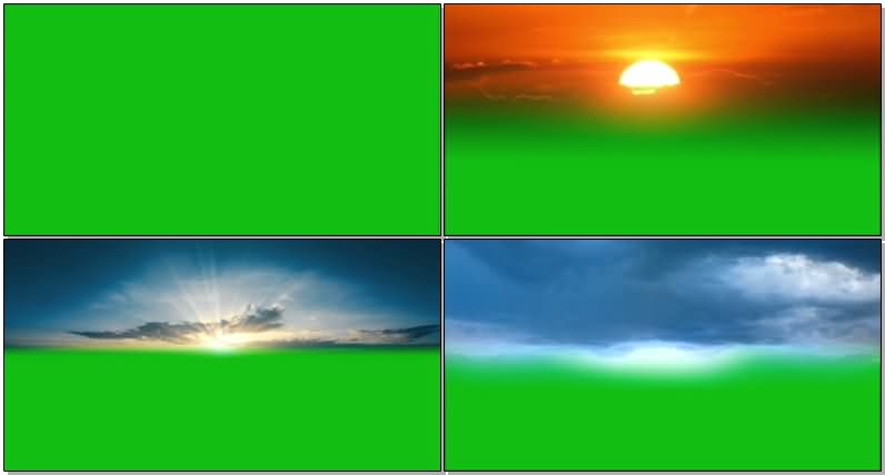 绿屏抠像夕阳乌云星空视频素材