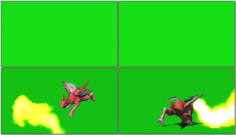 绿屏抠像粉色喷火龙视频素材