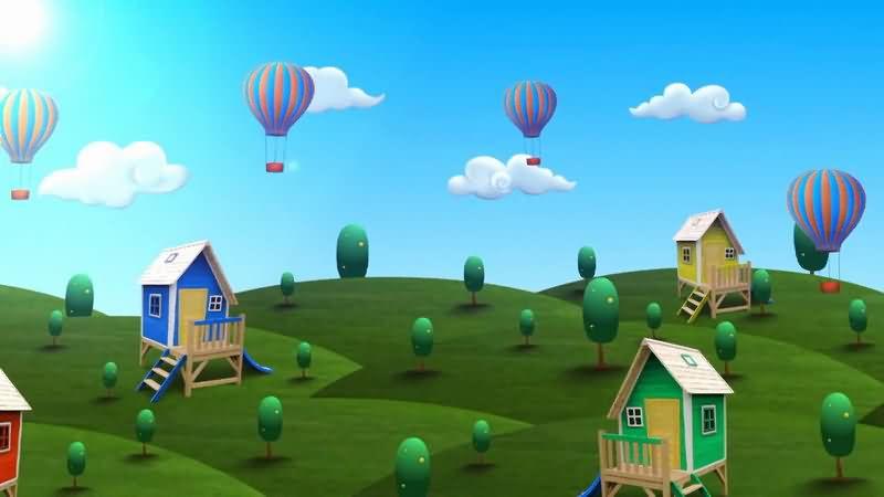 卡通蓝天草地房屋热气球视频素材