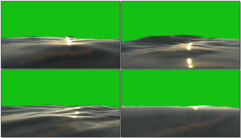 绿屏抠像波浪翻滚的海面视频素材