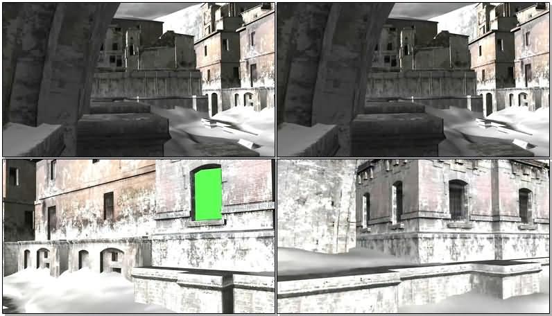 绿屏抠像铺满白雪的古堡视频素材