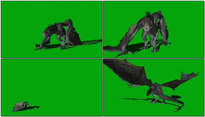 绿屏抠像飞翔的恶龙视频素材