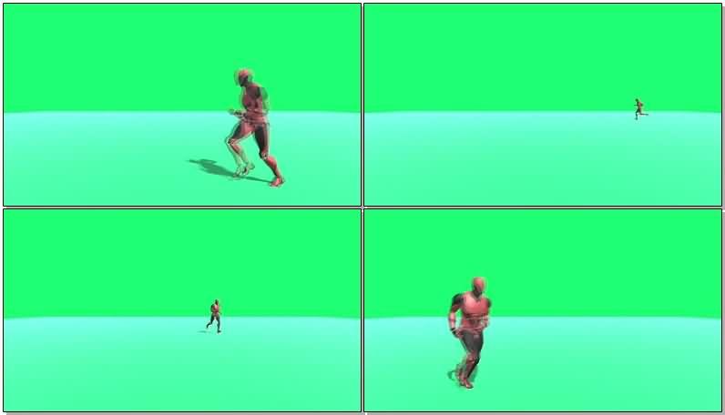 绿屏抠像奔跑的机器人视频素材