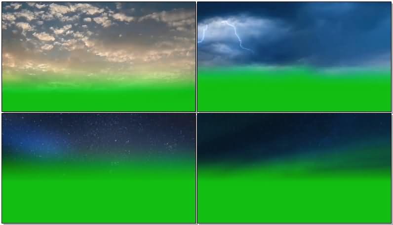 绿屏抠像天空闪电星空视频素材