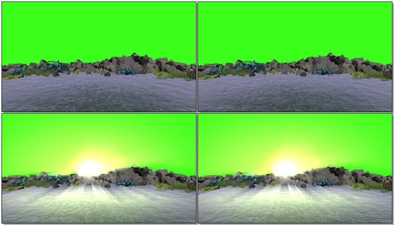 绿屏抠像海滩夕阳视频素材