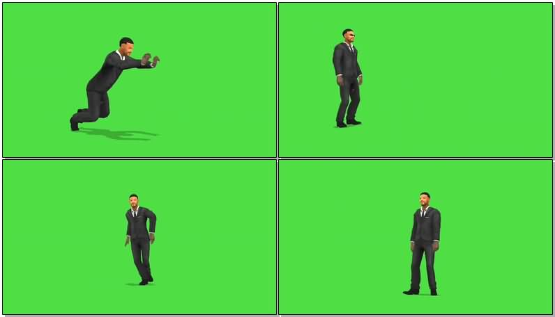 绿屏抠像黑衣人史密斯视频素材