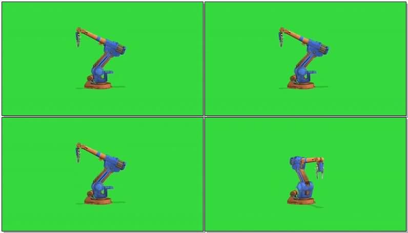 绿屏抠像工作的机械手臂视频素材