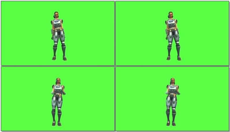绿屏抠像跳舞的女太空人视频素材