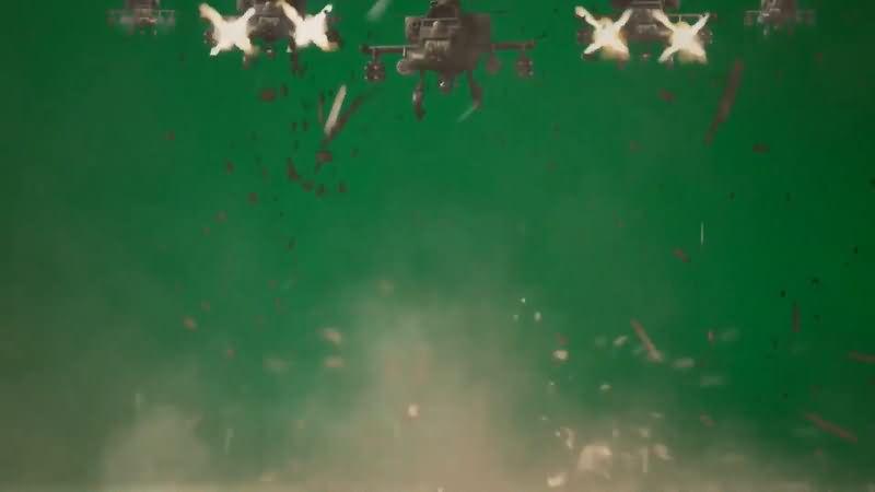 绿屏抠像飞机群扫射攻击视频素材