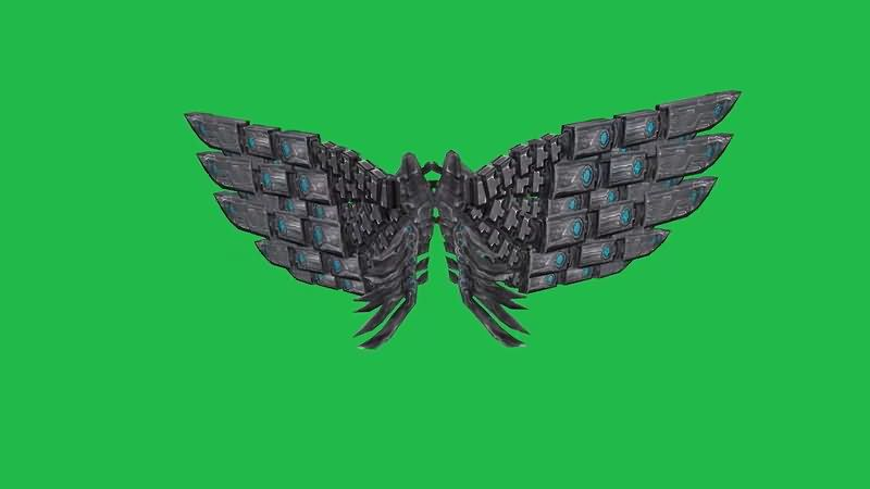 绿屏抠像钢铁机械翅膀视频素材