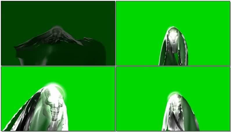 绿屏抠像披着斗篷的骷髅头视频素材