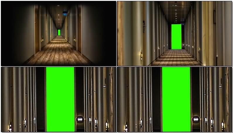 绿屏抠像走廊行走视频素材
