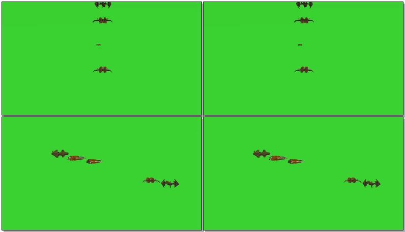 绿屏抠像编队飞行的飞机视频素材