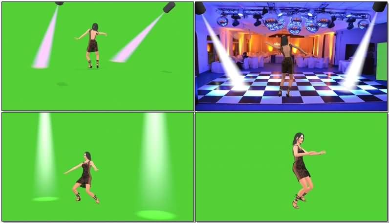 绿屏抠像跳舞的美女视频素材