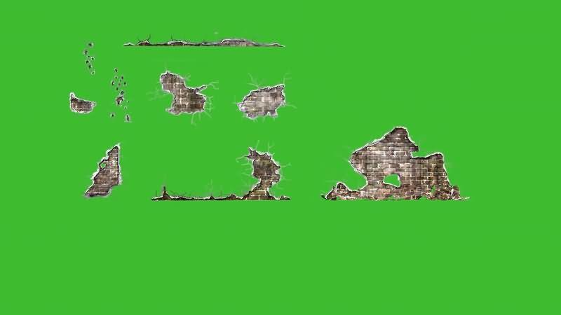 绿屏抠像倒塌的破损墙壁视频素材