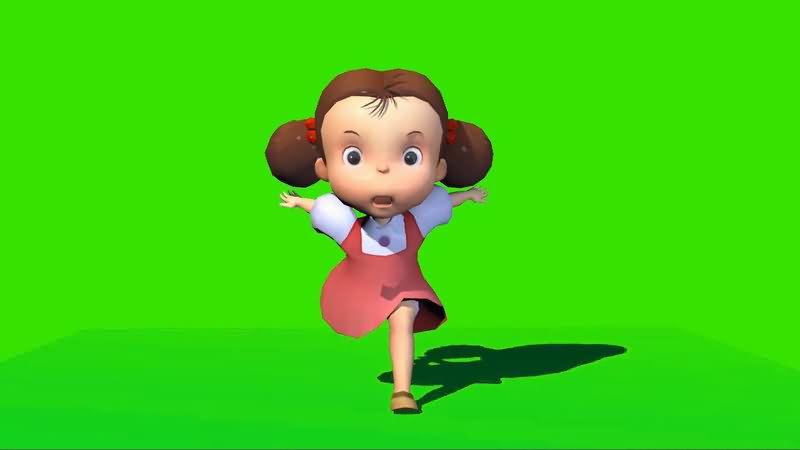 绿屏抠像奔跑的小女孩视频素材